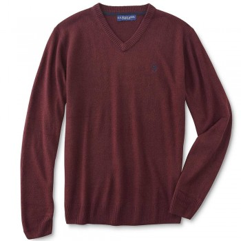 Pulover US Polo Assn V-Neck Burgundy